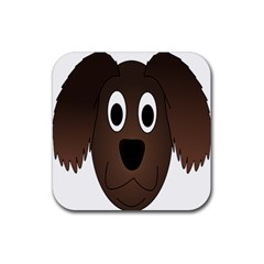 Dog Pup Animal Canine Brown Pet Rubber Square Coaster (4 Pack)