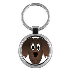 Dog Pup Animal Canine Brown Pet Key Chains (round)