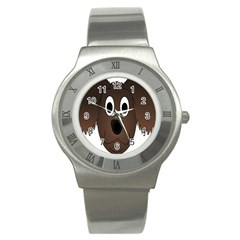 Dog Pup Animal Canine Brown Pet Stainless Steel Watch