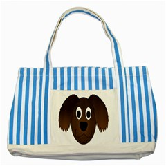 Dog Pup Animal Canine Brown Pet Striped Blue Tote Bag