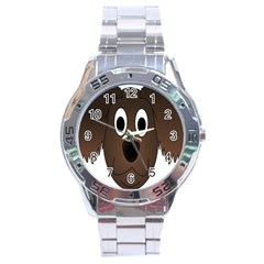 Dog Pup Animal Canine Brown Pet Stainless Steel Analogue Watch