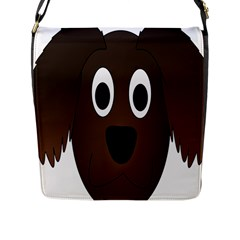 Dog Pup Animal Canine Brown Pet Flap Messenger Bag (l)