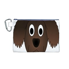 Dog Pup Animal Canine Brown Pet Canvas Cosmetic Bag (m)