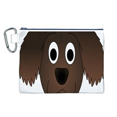 Dog Pup Animal Canine Brown Pet Canvas Cosmetic Bag (l)