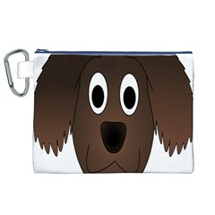 Dog Pup Animal Canine Brown Pet Canvas Cosmetic Bag (xl)