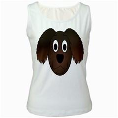 Dog Pup Animal Canine Brown Pet Women s White Tank Top