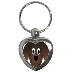 Dog Pup Animal Canine Brown Pet Key Chains (heart)