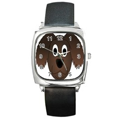 Dog Pup Animal Canine Brown Pet Square Metal Watch