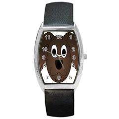Dog Pup Animal Canine Brown Pet Barrel Style Metal Watch