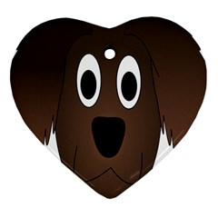 Dog Pup Animal Canine Brown Pet Heart Ornament (two Sides)