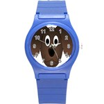 Dog Pup Animal Canine Brown Pet Round Plastic Sport Watch (S) Front