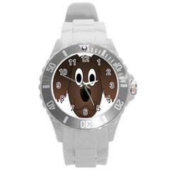 Dog Pup Animal Canine Brown Pet Round Plastic Sport Watch (l)