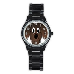 Dog Pup Animal Canine Brown Pet Stainless Steel Round Watch