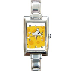 Rat Mouse Cheese Animal Mammal Rectangle Italian Charm Watch