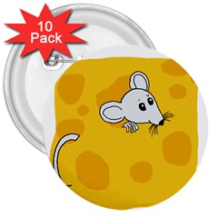 Rat Mouse Cheese Animal Mammal 3  Buttons (10 Pack)