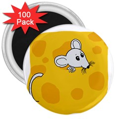 Rat Mouse Cheese Animal Mammal 3  Magnets (100 Pack)