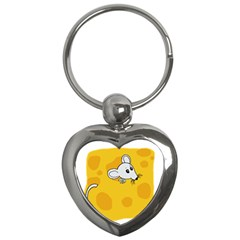 Rat Mouse Cheese Animal Mammal Key Chains (heart)