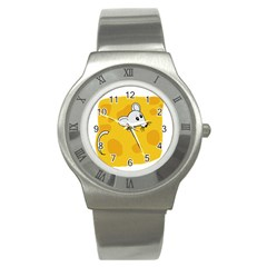 Rat Mouse Cheese Animal Mammal Stainless Steel Watch