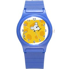 Rat Mouse Cheese Animal Mammal Round Plastic Sport Watch (s)