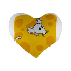 Rat Mouse Cheese Animal Mammal Standard 16  Premium Heart Shape Cushions