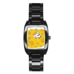 Rat Mouse Cheese Animal Mammal Stainless Steel Barrel Watch