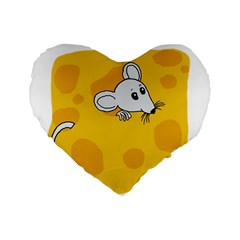 Rat Mouse Cheese Animal Mammal Standard 16  Premium Flano Heart Shape Cushions