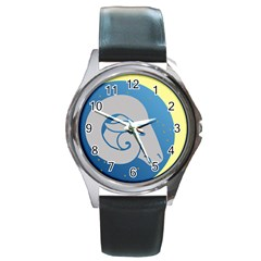 Ram Zodiac Sign Zodiac Moon Star Round Metal Watch