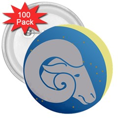 Ram Zodiac Sign Zodiac Moon Star 3  Buttons (100 Pack)