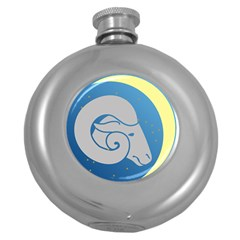 Ram Zodiac Sign Zodiac Moon Star Round Hip Flask (5 Oz)