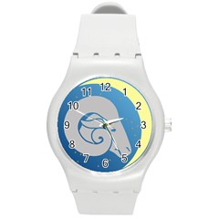 Ram Zodiac Sign Zodiac Moon Star Round Plastic Sport Watch (m)