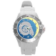 Ram Zodiac Sign Zodiac Moon Star Round Plastic Sport Watch (l)