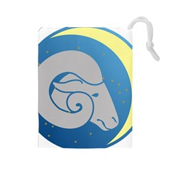 Ram Zodiac Sign Zodiac Moon Star Drawstring Pouches (large)