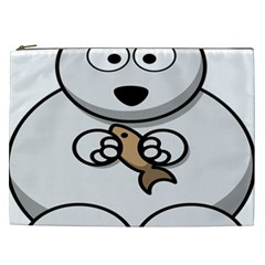 Bear Polar Bear Arctic Fish Mammal Cosmetic Bag (xxl)
