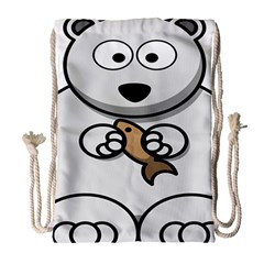 Bear Polar Bear Arctic Fish Mammal Drawstring Bag (large)