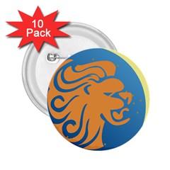 Lion Zodiac Sign Zodiac Moon Star 2 25  Buttons (10 Pack)