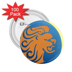 Lion Zodiac Sign Zodiac Moon Star 2 25  Buttons (100 Pack)
