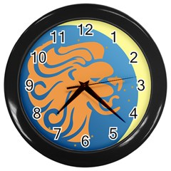 Lion Zodiac Sign Zodiac Moon Star Wall Clocks (black)