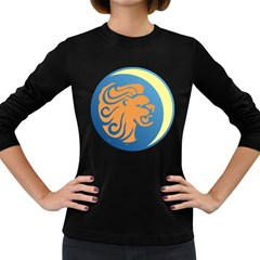 Lion Zodiac Sign Zodiac Moon Star Women s Long Sleeve Dark T Shirts