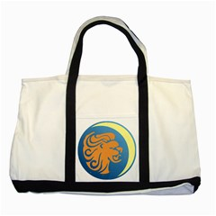 Lion Zodiac Sign Zodiac Moon Star Two Tone Tote Bag