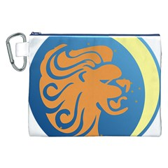 Lion Zodiac Sign Zodiac Moon Star Canvas Cosmetic Bag (xxl)