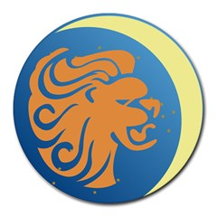 Lion Zodiac Sign Zodiac Moon Star Round Mousepads