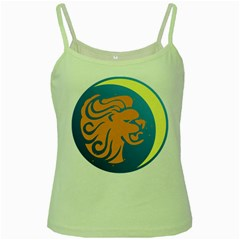 Lion Zodiac Sign Zodiac Moon Star Green Spaghetti Tank