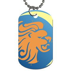 Lion Zodiac Sign Zodiac Moon Star Dog Tag (one Side)