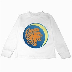 Lion Zodiac Sign Zodiac Moon Star Kids Long Sleeve T Shirts