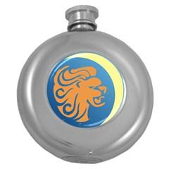 Lion Zodiac Sign Zodiac Moon Star Round Hip Flask (5 Oz)