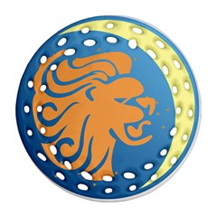 Lion Zodiac Sign Zodiac Moon Star Round Filigree Ornament (two Sides)