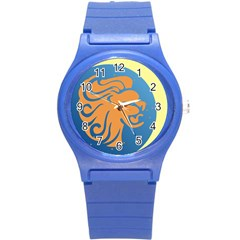 Lion Zodiac Sign Zodiac Moon Star Round Plastic Sport Watch (s)