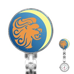 Lion Zodiac Sign Zodiac Moon Star Stainless Steel Nurses Watch