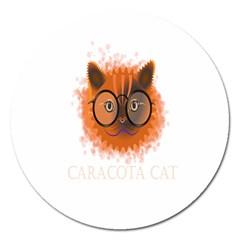Cat Smart Design Pet Cute Animal Magnet 5  (round)