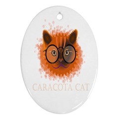 Cat Smart Design Pet Cute Animal Oval Ornament (two Sides)